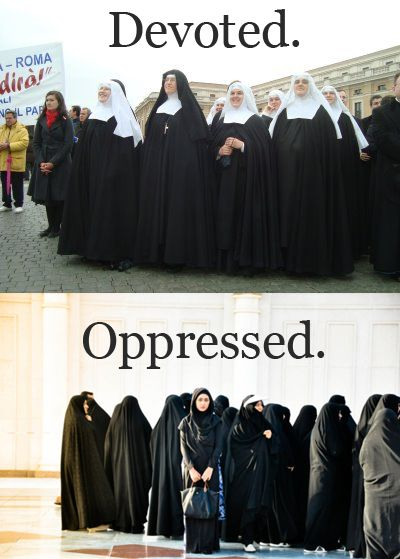 """Devoted vs. Opressed"" Yay double standards! #feminism #religion"
