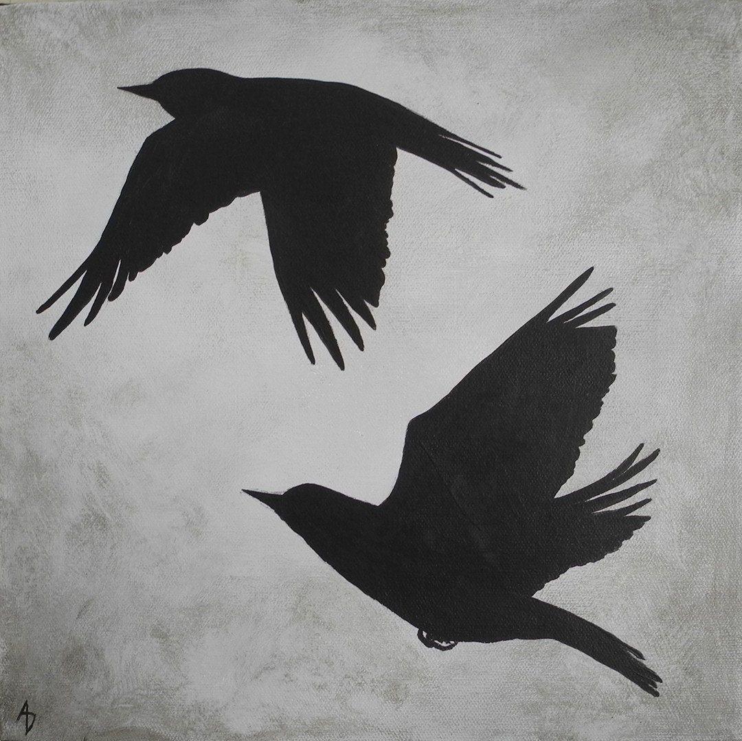 Silhouette bird flight painting bird shadow modern for Minimal art silhouette