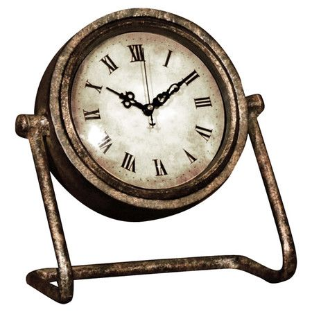 With its traditional face and distressed finish, this table clock adds rustic appeal to any room. Display alongside family photos on your hallway console tab...