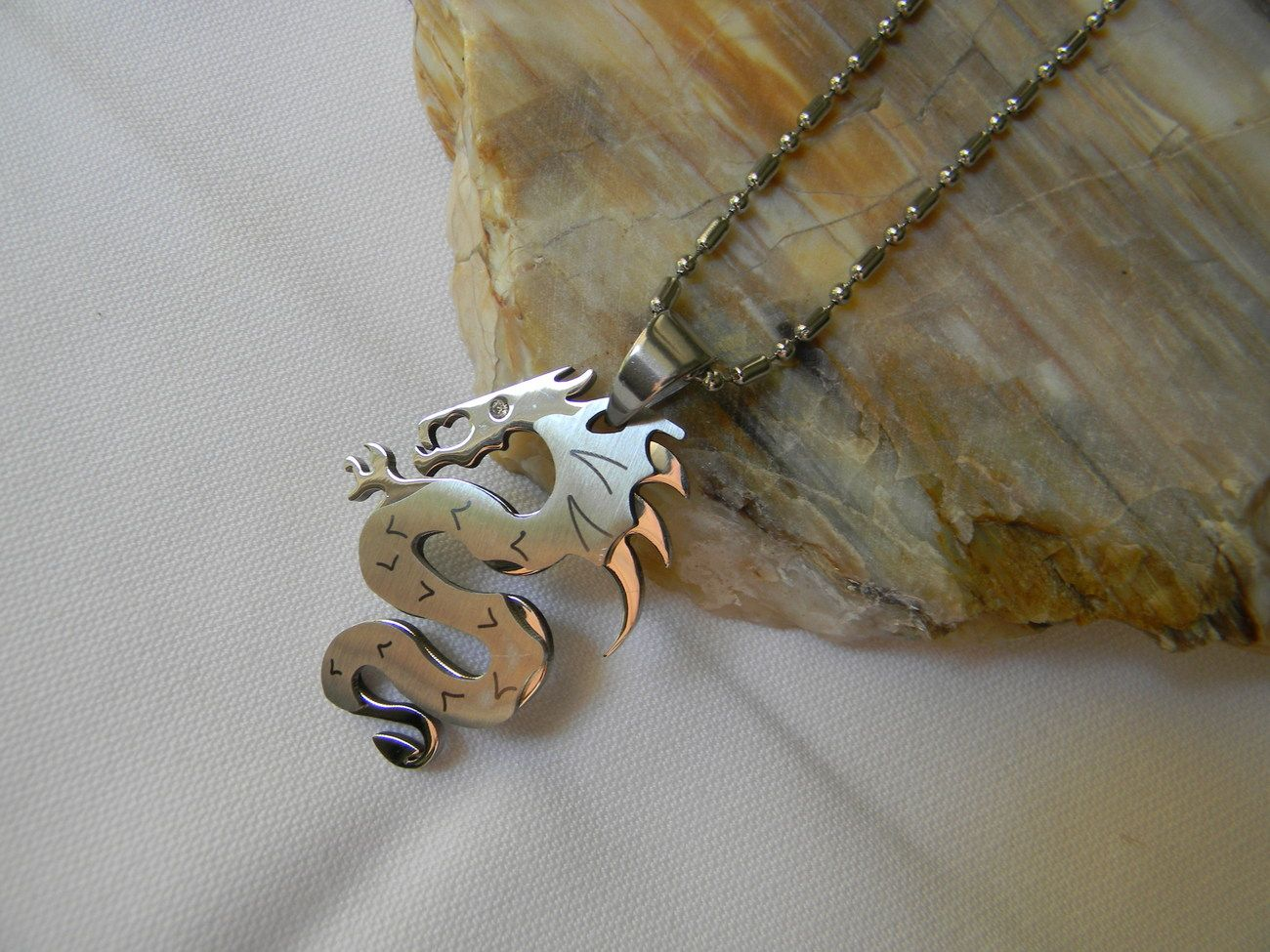 Stainless Steel Dragon Design Men's Necklace