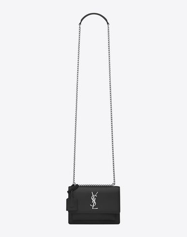 74b06f0d495c SAINT LAURENT Small Sunset Monogram Saint Laurent Bag In Black Grained  Leather.  saintlaurent  bags  shoulder bags  lining  crossbody  suede
