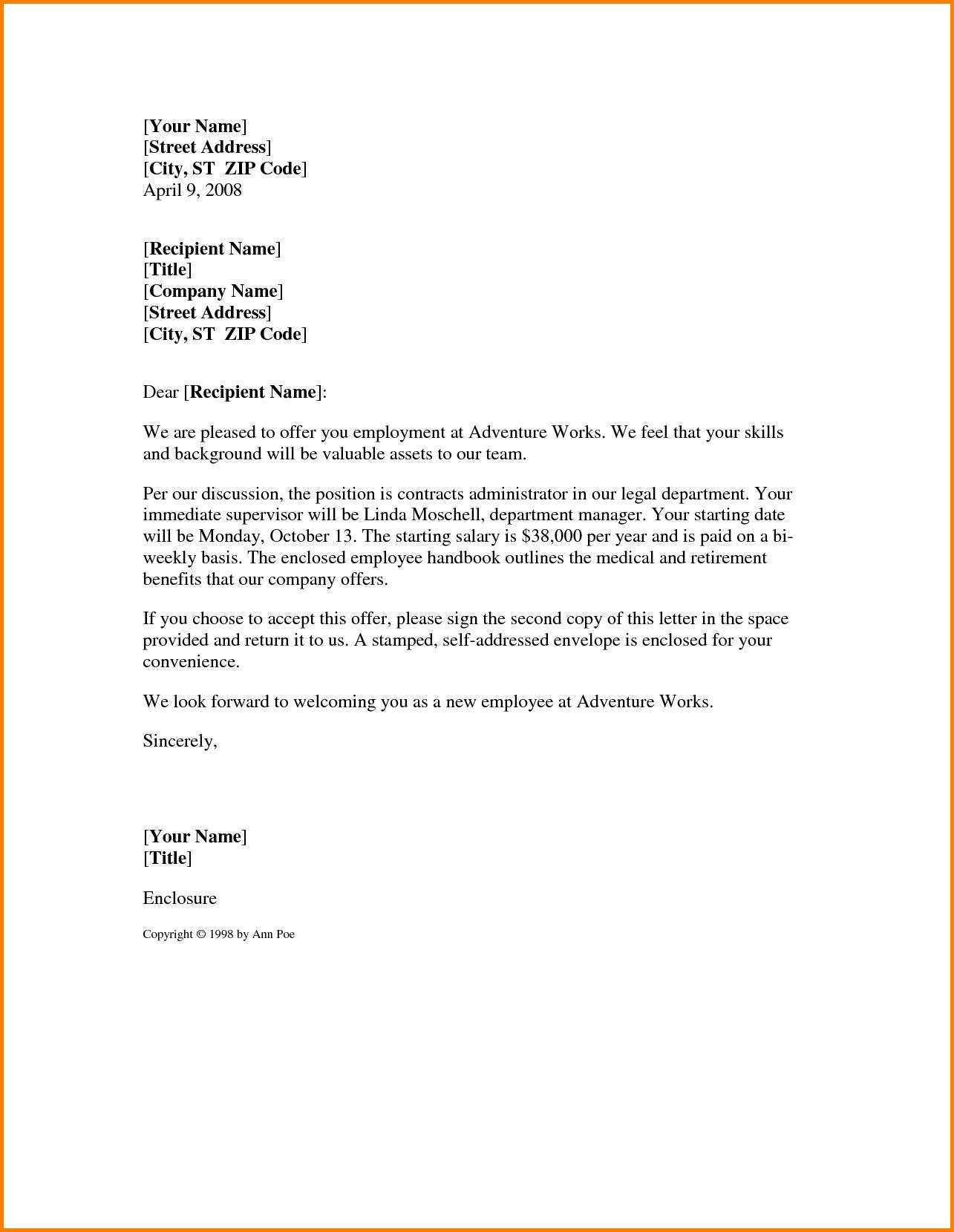 Letter Templates Employee Reference Template Job Offer Redundancy