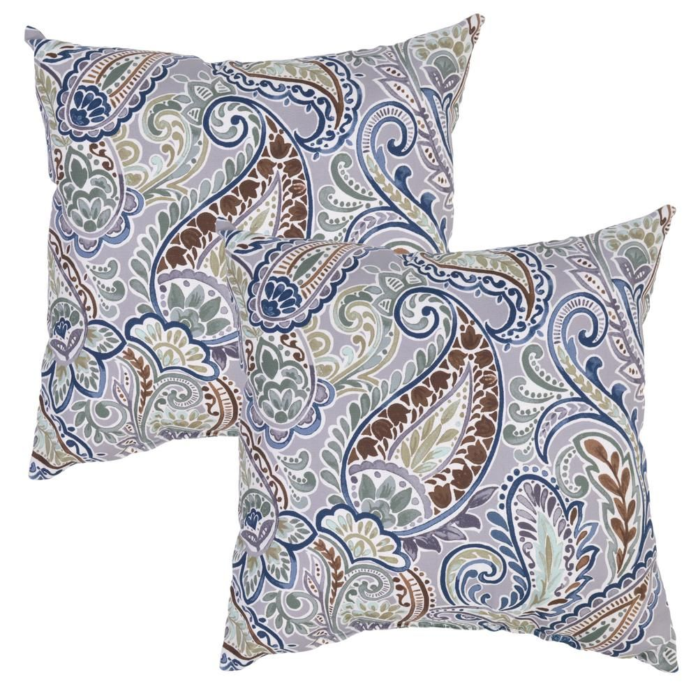 Plantation Patterns Charleston Paisley Square Outdoor Throw Pillow