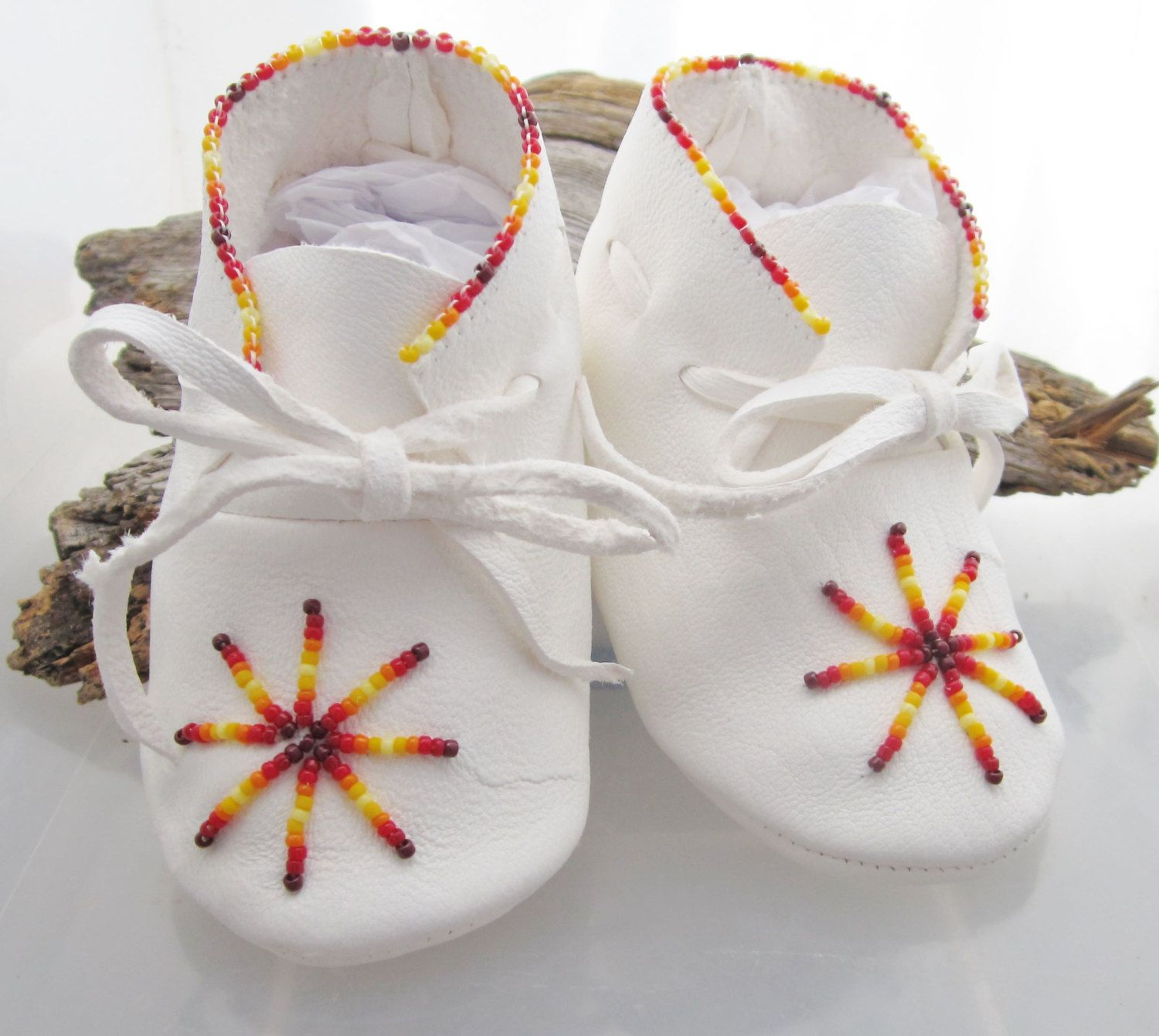 Shoes Uni White Leather Beaded designs Baby Shoes Infant
