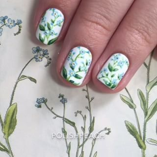 Instagram photo by polishpeach - Yay for longer videos! This tutorial is 35 seconds long☺️ Forget me not-inspired flowers The song is Giving Up The Gun by Vampire Weekend