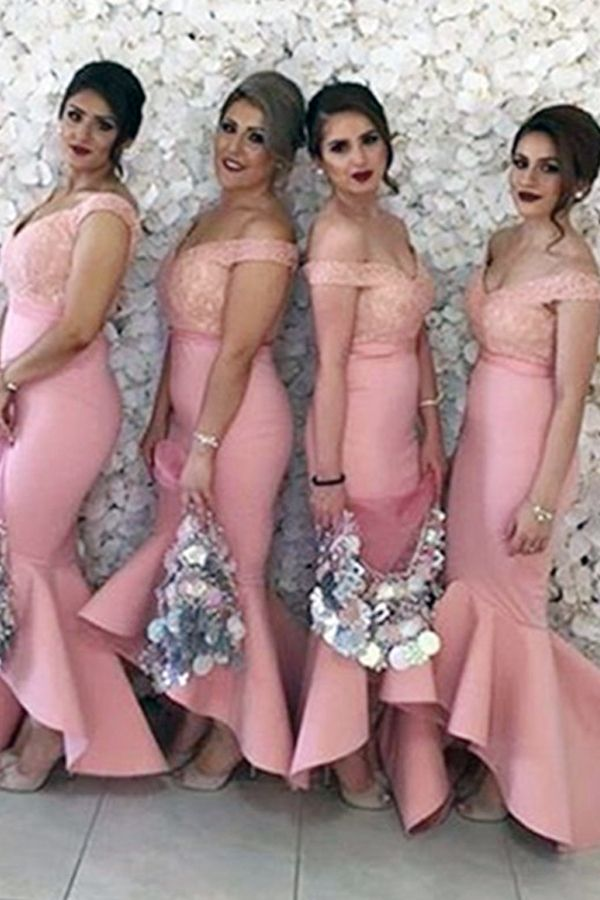 68a11be7dc8 Glamorous Off the Shoulder High Low Pink Mermaid Bridesmaid Dress ...