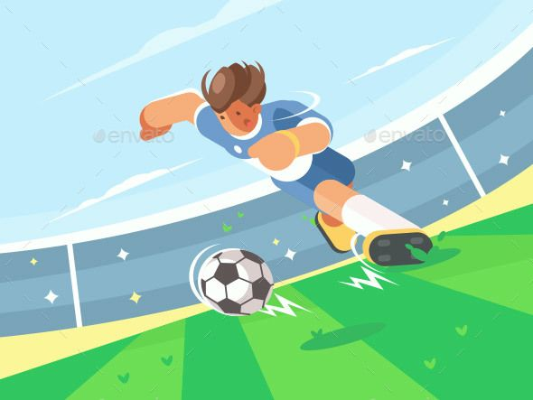 Soccer Player Running With Ball By Kit8 Soccer Player Running With Ball On Green Field Of Stadium Vector Illustratio Football Illustration Soccer Rugby Design