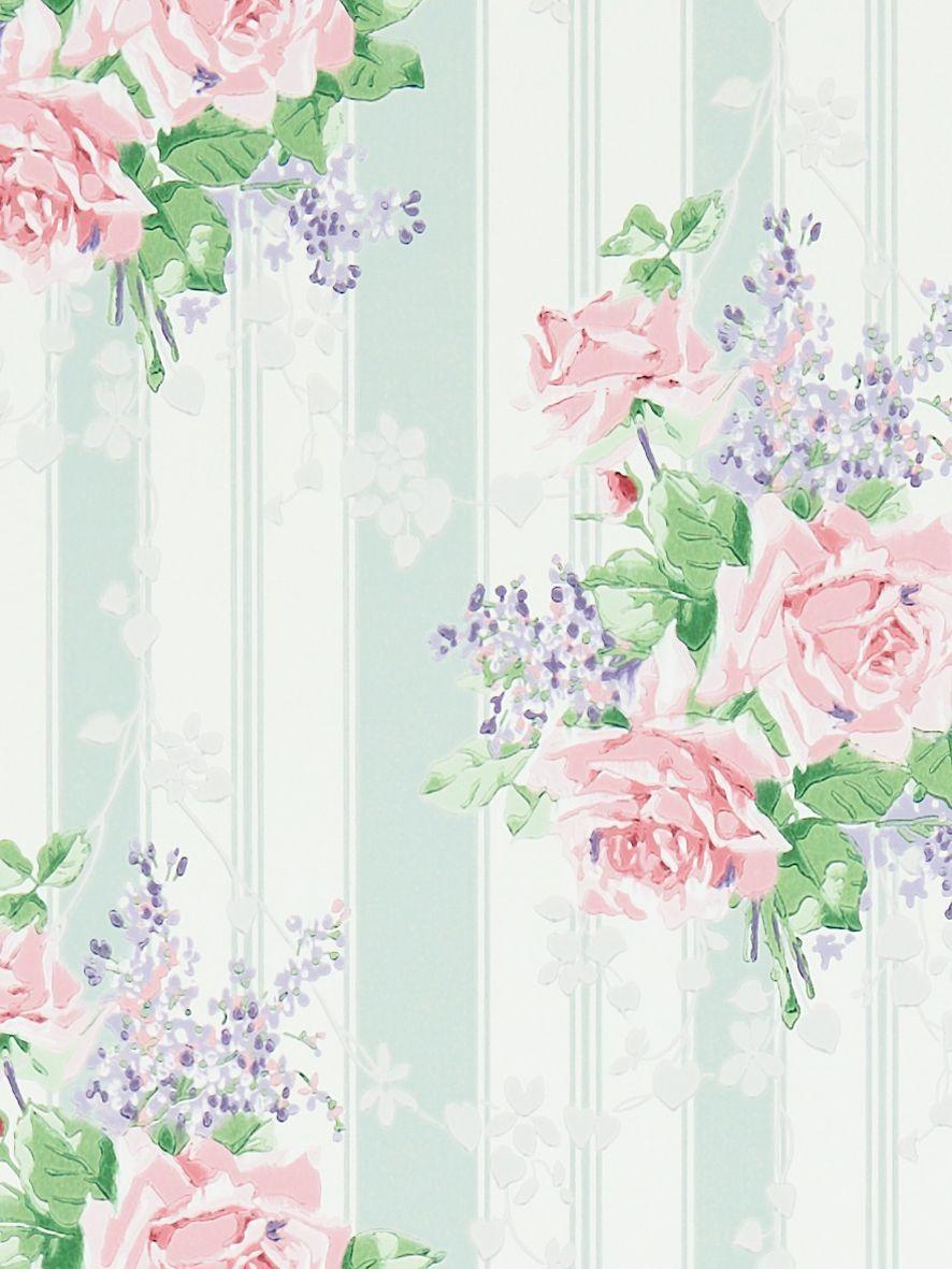 Sanderson Cecile Rose Wallpaper, Duck Egg/Rose, DVIN214583