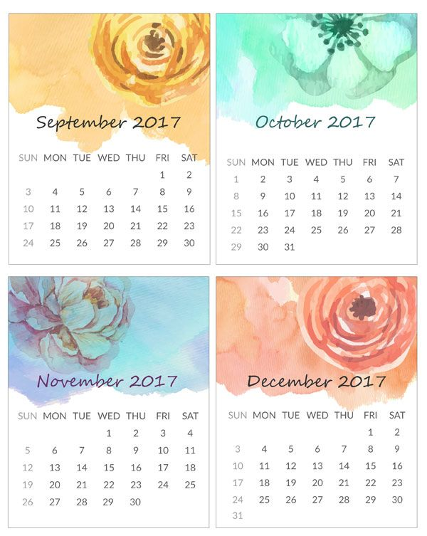 Printable Mini Calendar for 2017 Free to Download Scrapbooking