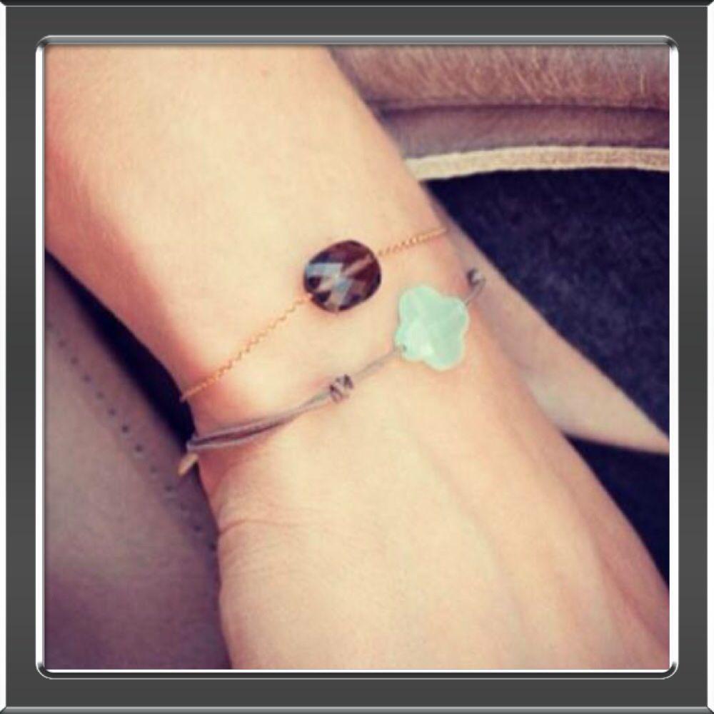 Morganne Bello, gouden armbanden of met koord en echte top edelstenen