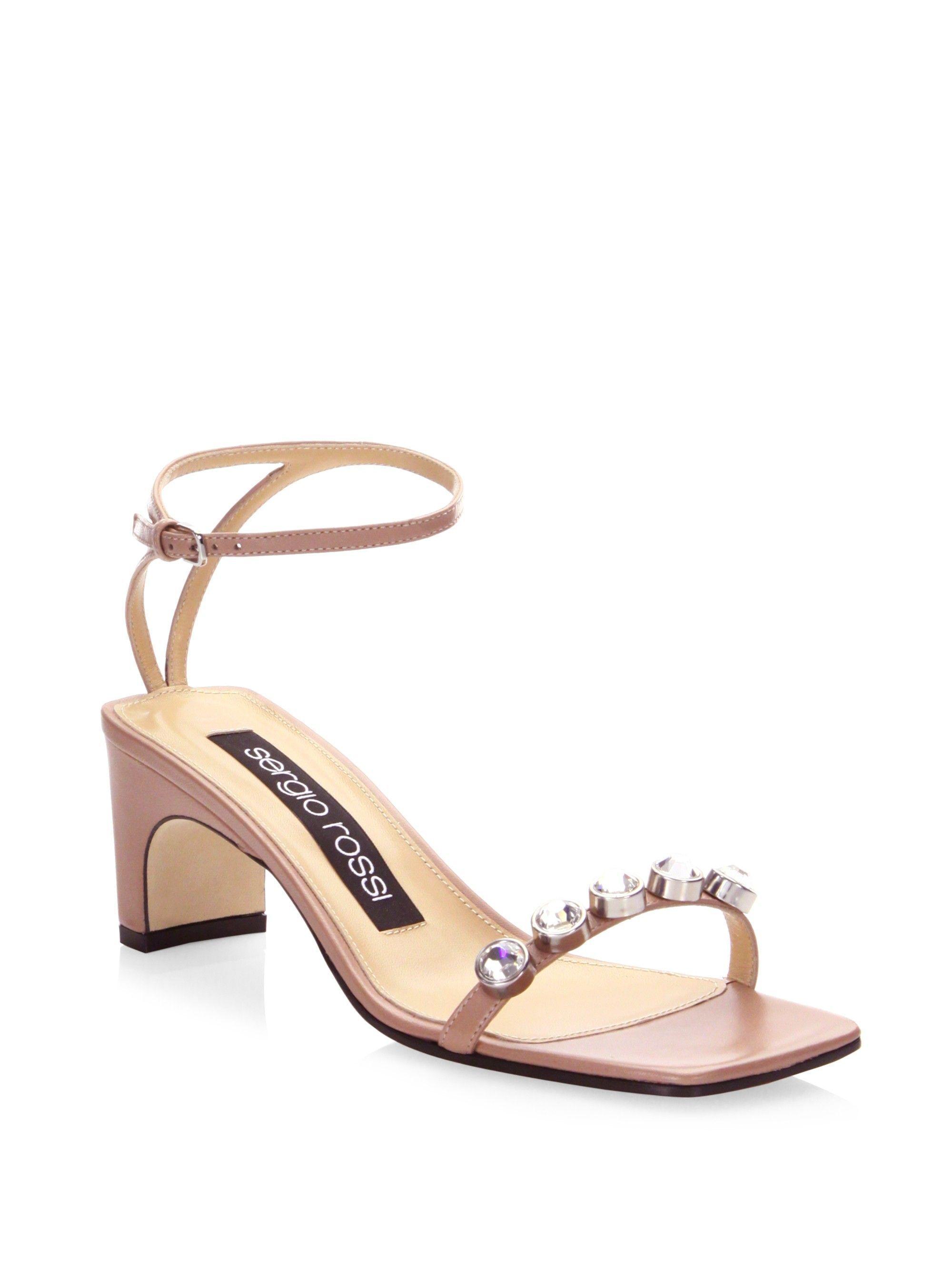 1669ff45e3d59 Sergio Rossi Embellished Leather Ankle-Strap Sandals - Ultraviolet 39 (9)   SergioRossi