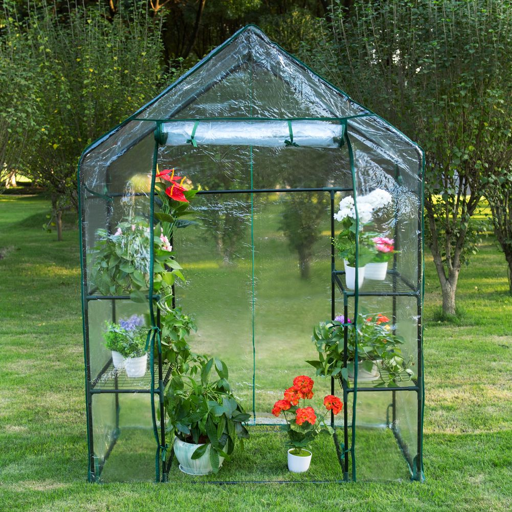 6 Tier Steeple Greenhouse With Pvc Cover Hot Green House 56 5 L X 29 W X 75 5 H Walk In Greenhouse Outdoor Gardens Greenhouse