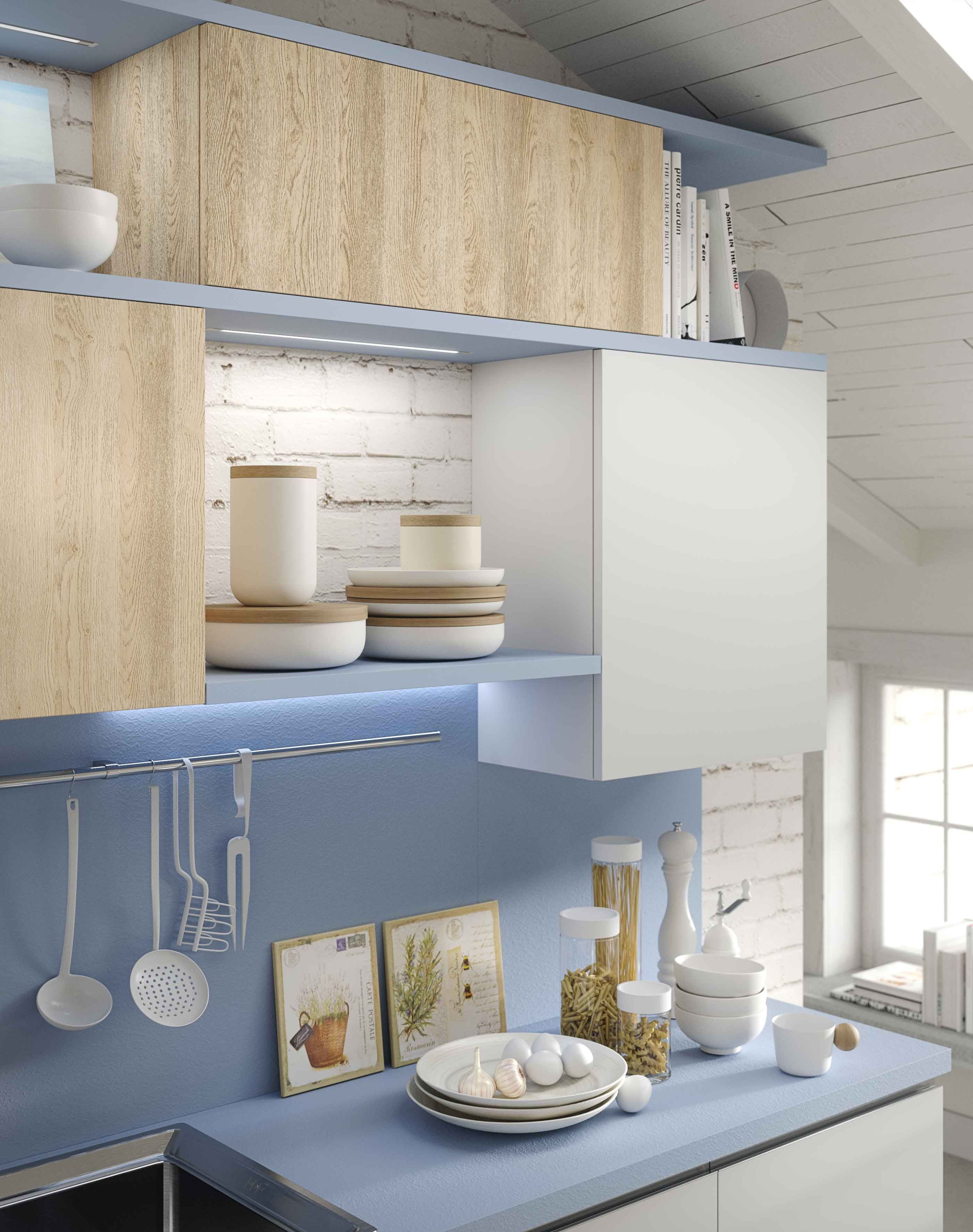 Kitchen Up available with doors in Nature oak melamine and Arctic white lacquer…