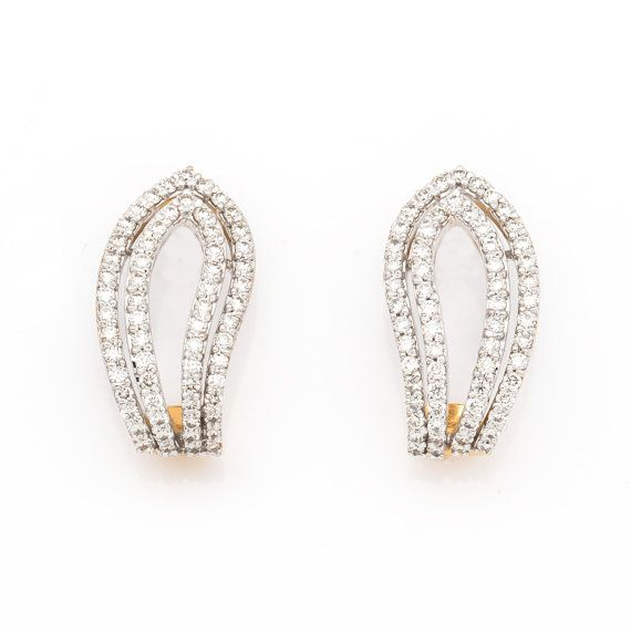 This Beautiful Real Diamond Earrings Made In 18k Gold And Diamonds All The Used For Earring Are Near Colorless H I Color Of Best