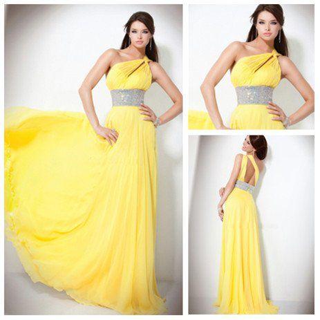 Barato Diseño atractivo Backless amarillo de gasa un hombro vestido de noche Moda 2012-en vestidos de noche de prendas de vestir y accesorios en Aliexpress.com
