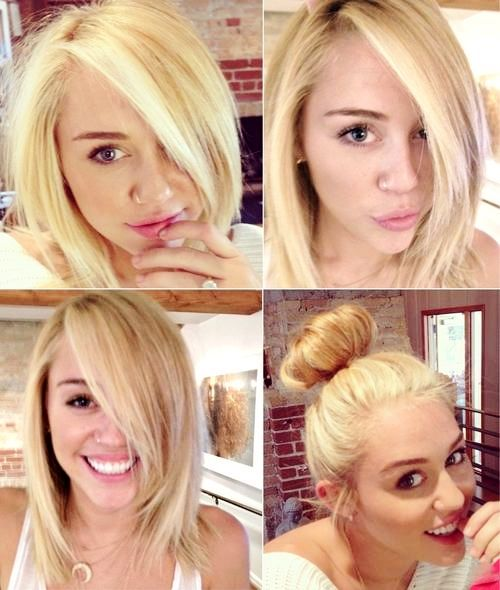 Officialmileyrares Miley With Medium Length Blonde Hair Fave Hairstyle Of Miley Cyrus Hair Hair Styles Long Hair Styles