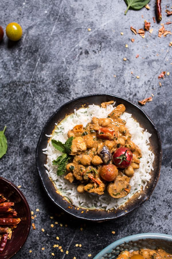 Simple Almond Chicken Chickpea And Eggplant Curry Recipe Eggplant Curry Chicken Salad