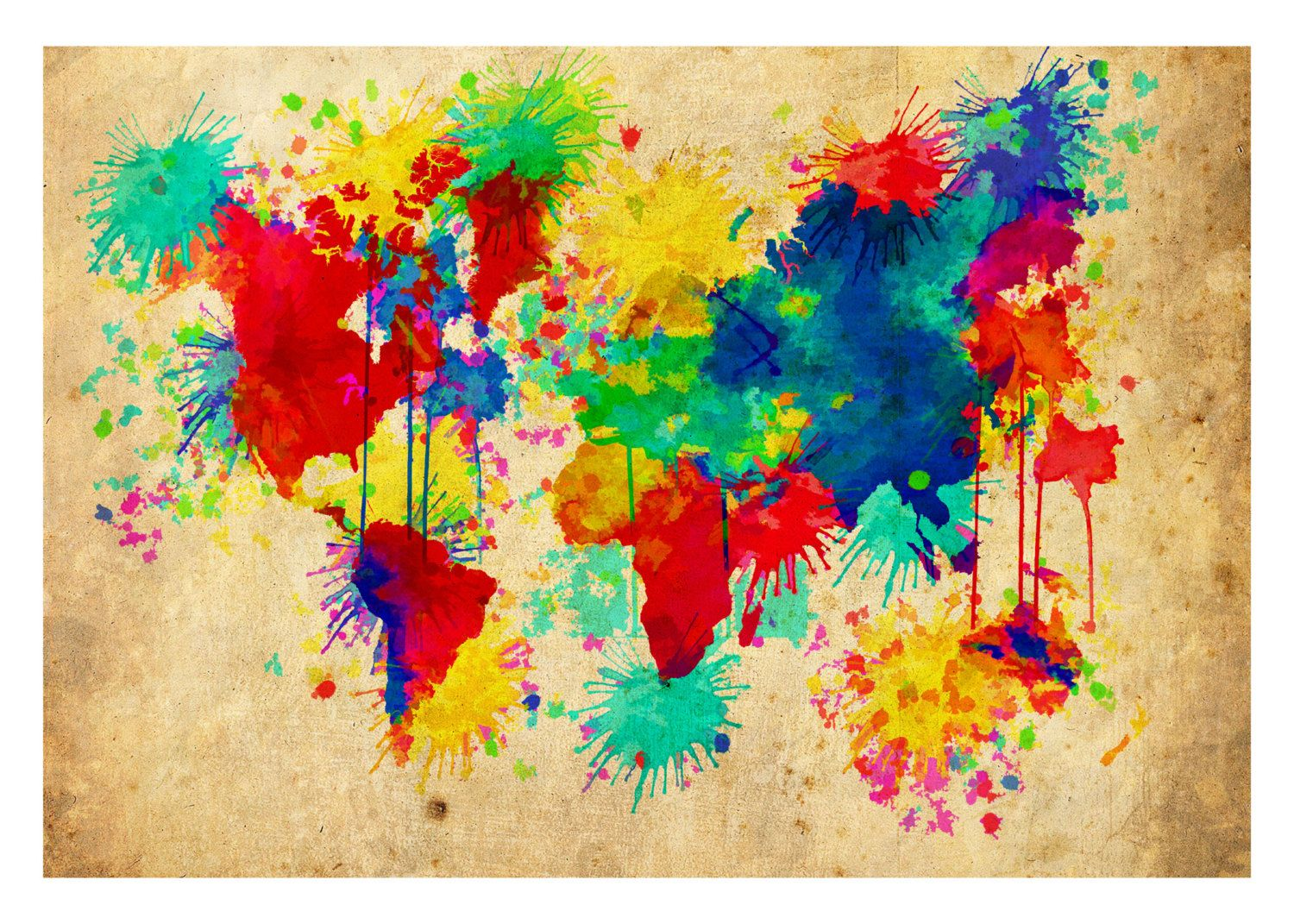 World map 20x30 abstract splatter art vintage background 2995 world map 20x30 abstract splatter art vintage background 2995 via etsy gumiabroncs Gallery