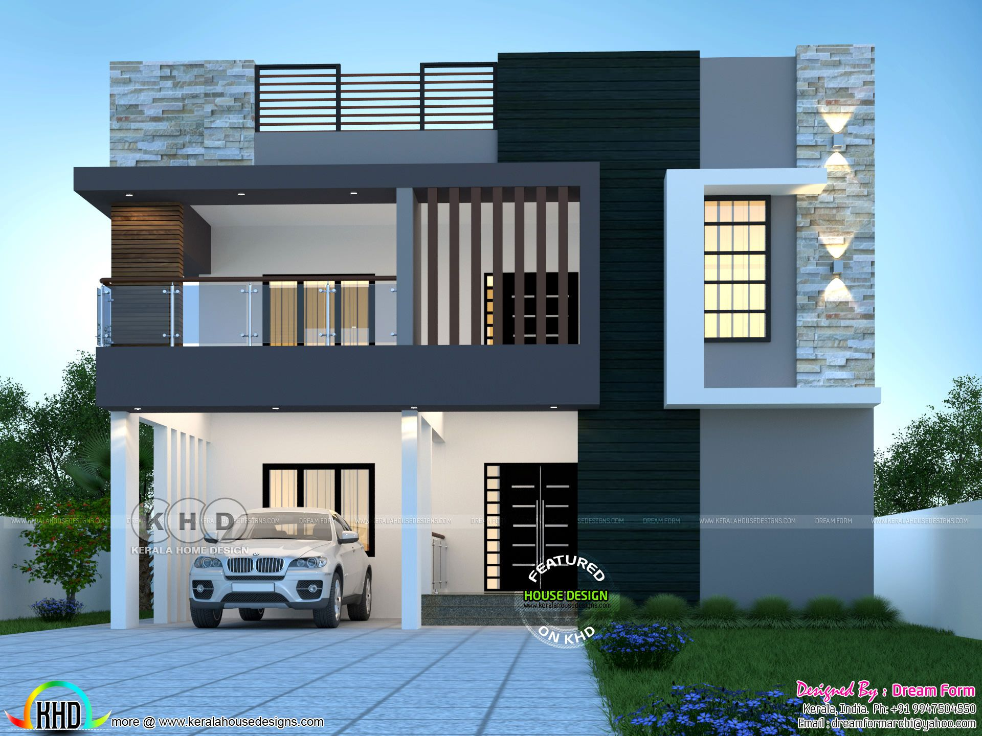 6 Bedrooms 3840 Sq Ft Duplex Modern Home Design Kerala House Design Small House Design Exterior Bungalow House Design