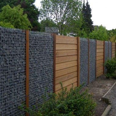 Interesting Gabion Fence Idea I Wonder If The Wood Portions Are