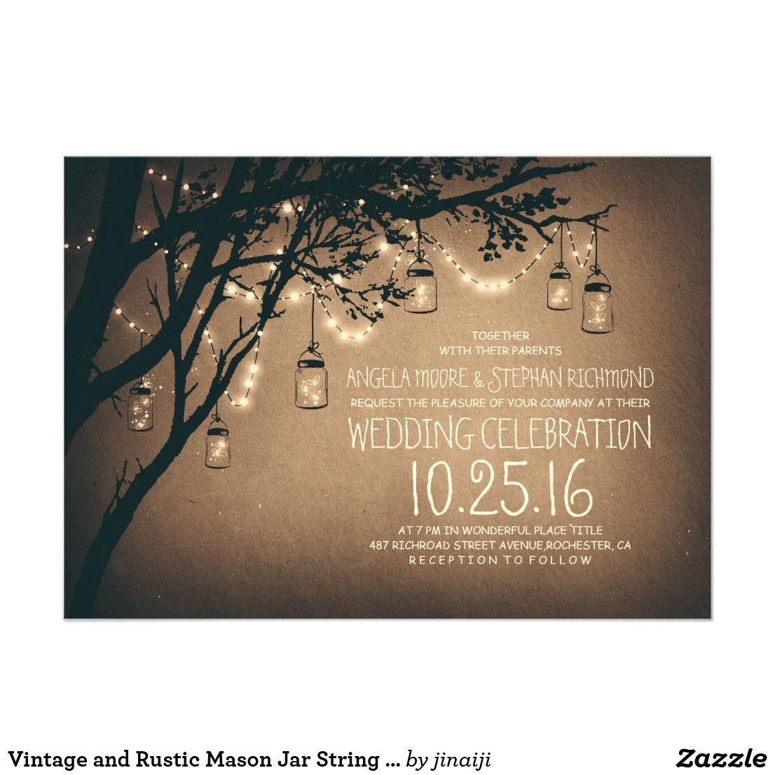 Vintage And Rustic Mason Jar String Lights Wedding Einladung
