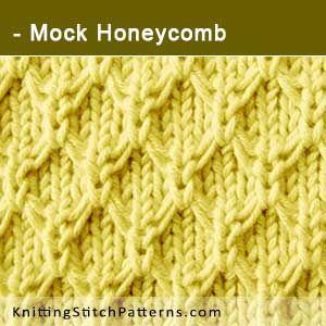 Mock Honeycomb Stitch Free Knitting Pattern Includes Written