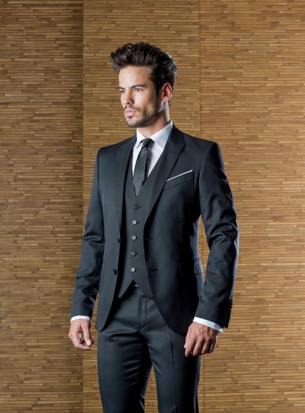 Handsome Black Wedding Mens Suits Slim Fit Bridegroom Tuxedos For ...