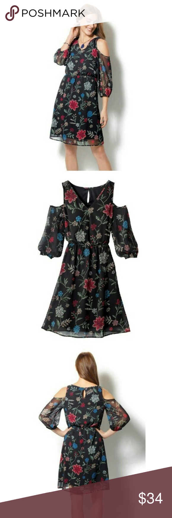 e81ae5f66a39 Cold Shoulder Boho Floral Dress This feminine frock is the perfect  transitional piece. Perfect for any occasion. It has an elastic cinch  waist