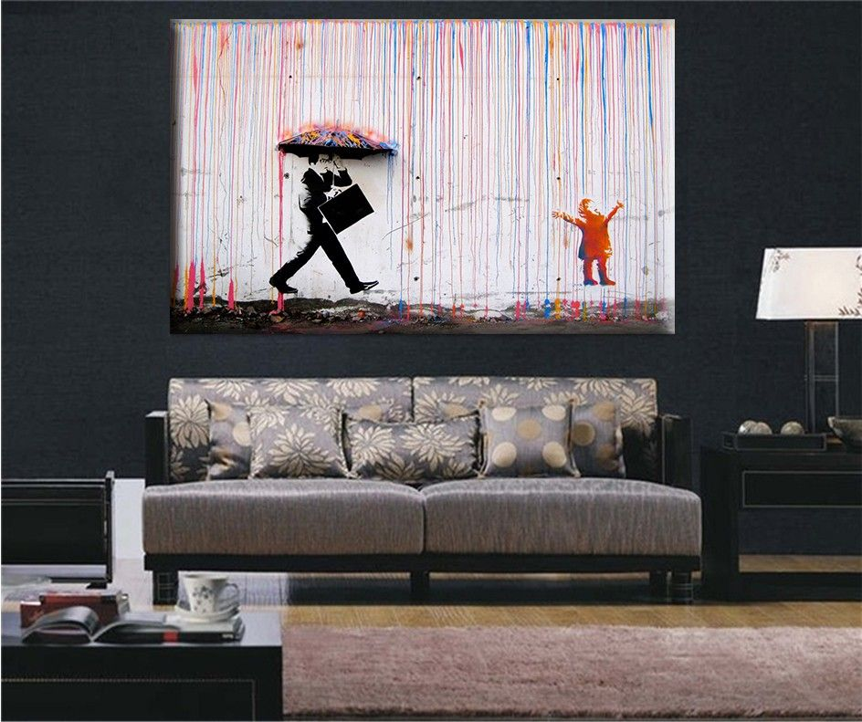 Banksy Art Colorful Rain Canvas Painting Wall Pictures For Living Room Cuadros Decorativos Poster And Print Want Additional Info