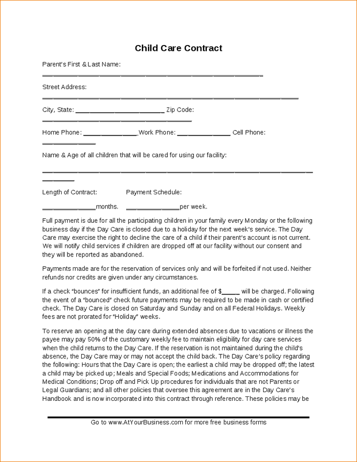 picture about Printable Daycare Contracts identify Little one Treatment Deal Template - Hashdoc Childcare recommendations