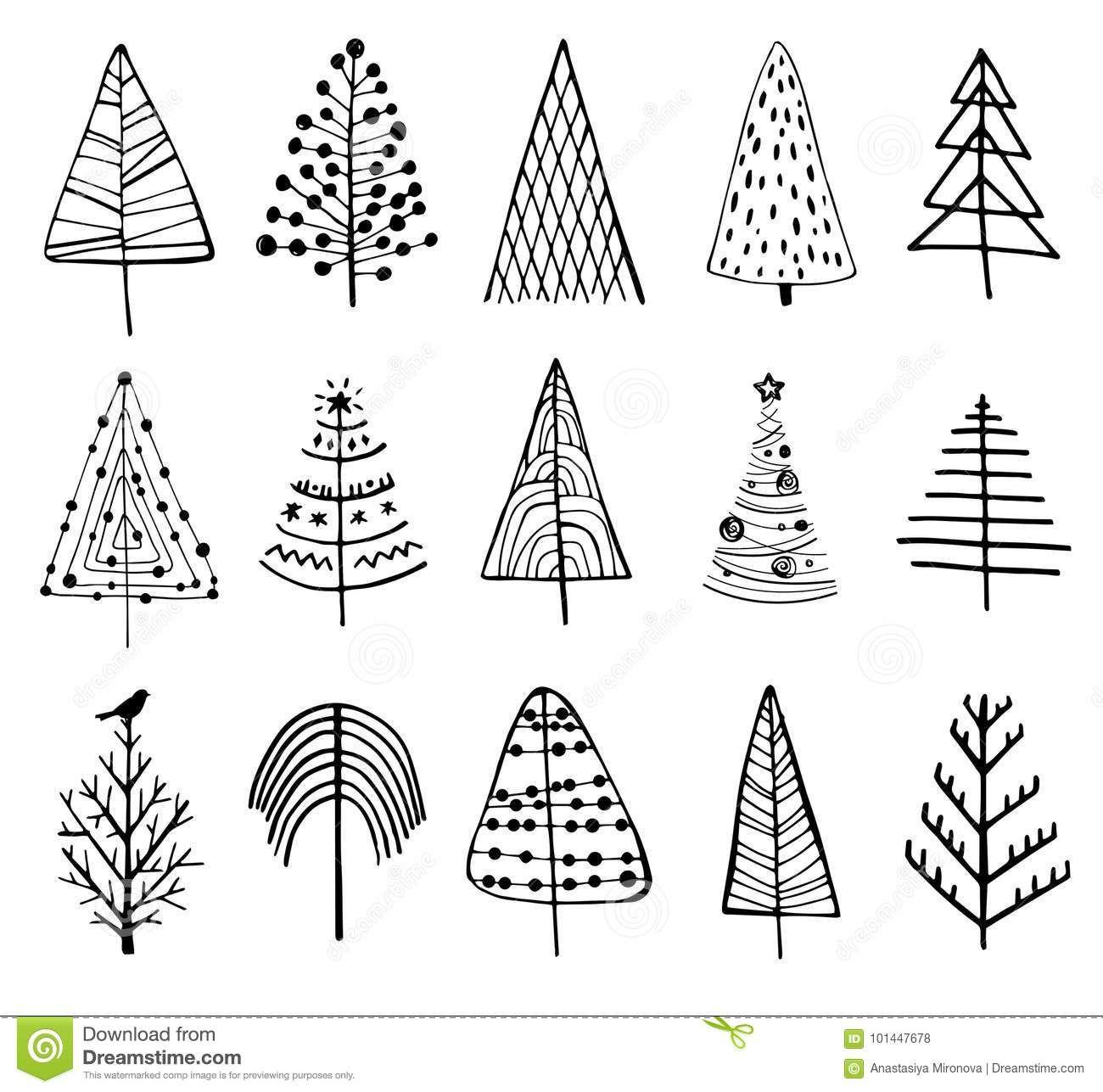 Illustration About 15 Designs Of Doodle Christmas Trees To Create Holiday Cards Backg Basteln Weihnachten Weihnachten Zeichnung Selbermachen Basteln Zu Hause