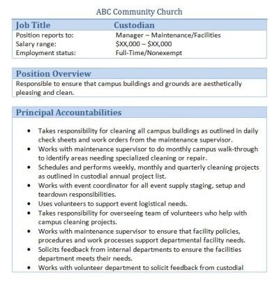 Church Custodian Job Description