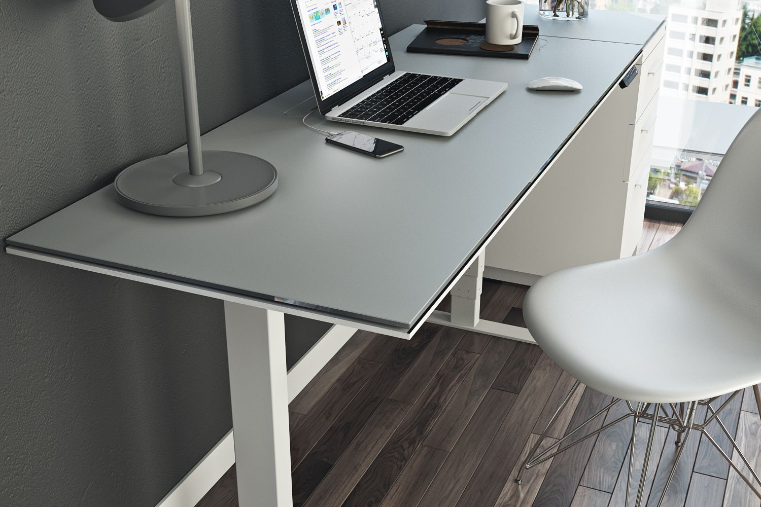 The Centro Lift Desk Lets You Work Sitting Down Or Standing Up Now Available In Stores Desk Diy Office Decor Bookcase Decor