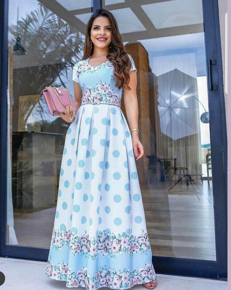 d5b705dba Vestido Longo Paola Neoprene com Cinto - Moda Evangélica - Flor de Amêndoa