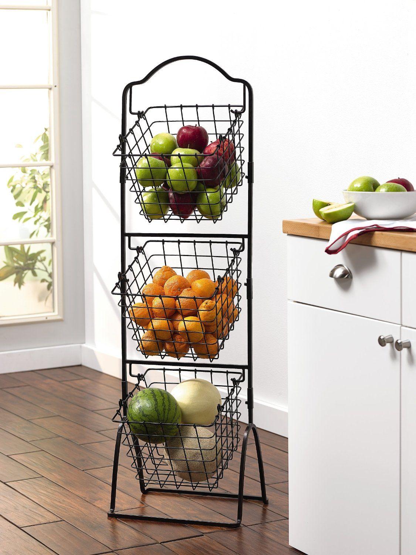Design Fruit Storage Basket amazon com gourmet basics by mikasa 3 tier metal market basket antique