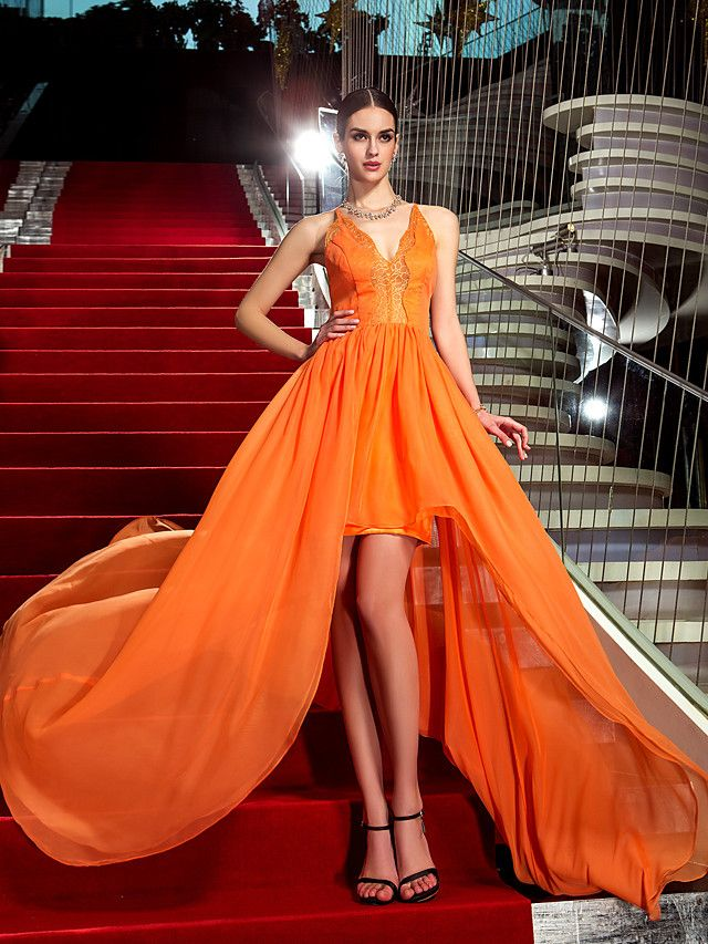 Sheath / Column Celebrity Style High Low Formal Evening ...