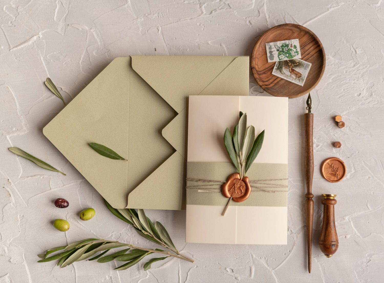 Tusany Wedding Invitations Real Olive Tree Branch Invites Perfect for Italy Destination Wedding 1/OL/z