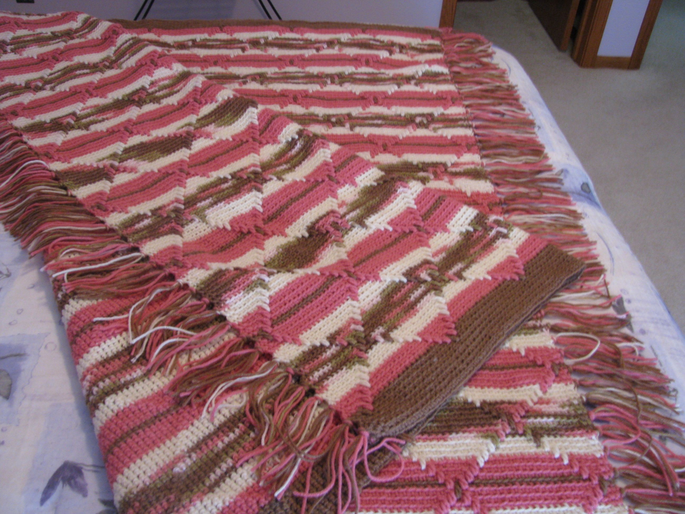 Crocheted Afghan Navajo Pattern Pink Camouflage Crochet