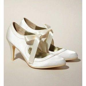 Lush 1920s Vintage Style Wedding Shoes Ivory Satin Organza Ribbon