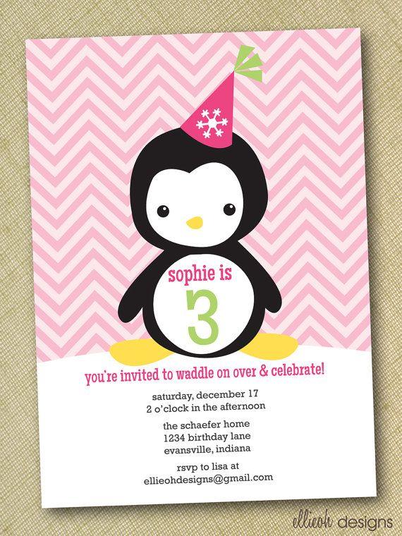 Penguin Party Invitation Winter Celebration Girl Birthday