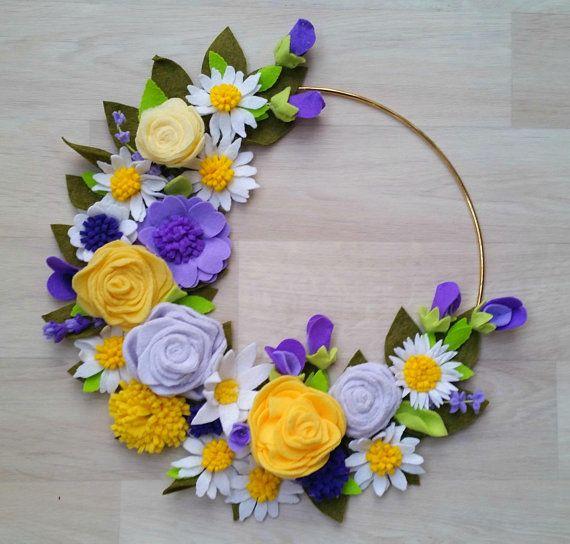Photo of Items similar to Yellow Purple Lavender Felt Flower Wreath // Felt Flowers // Modern Gold Hoop Wreath // Fleece and Felt Wreath // Felt Flower Wallhanging on Etsy