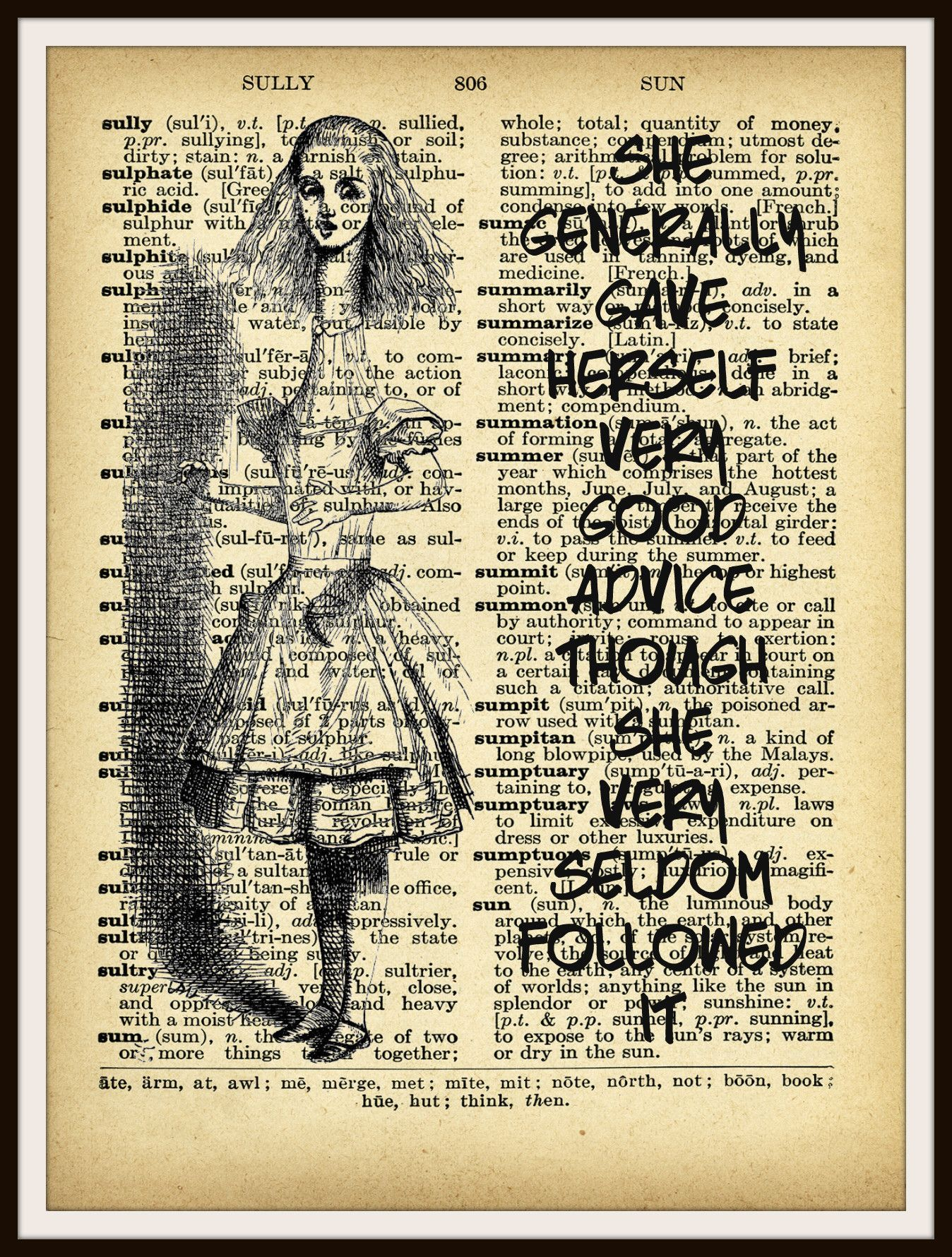 D-AIW-02 Retro Mad Hatter Vintage Art Print Original Book Page Alice Wonderland