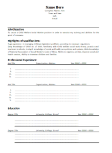 Social Worker Resume Template | Word, Excel & PDF Templates ...
