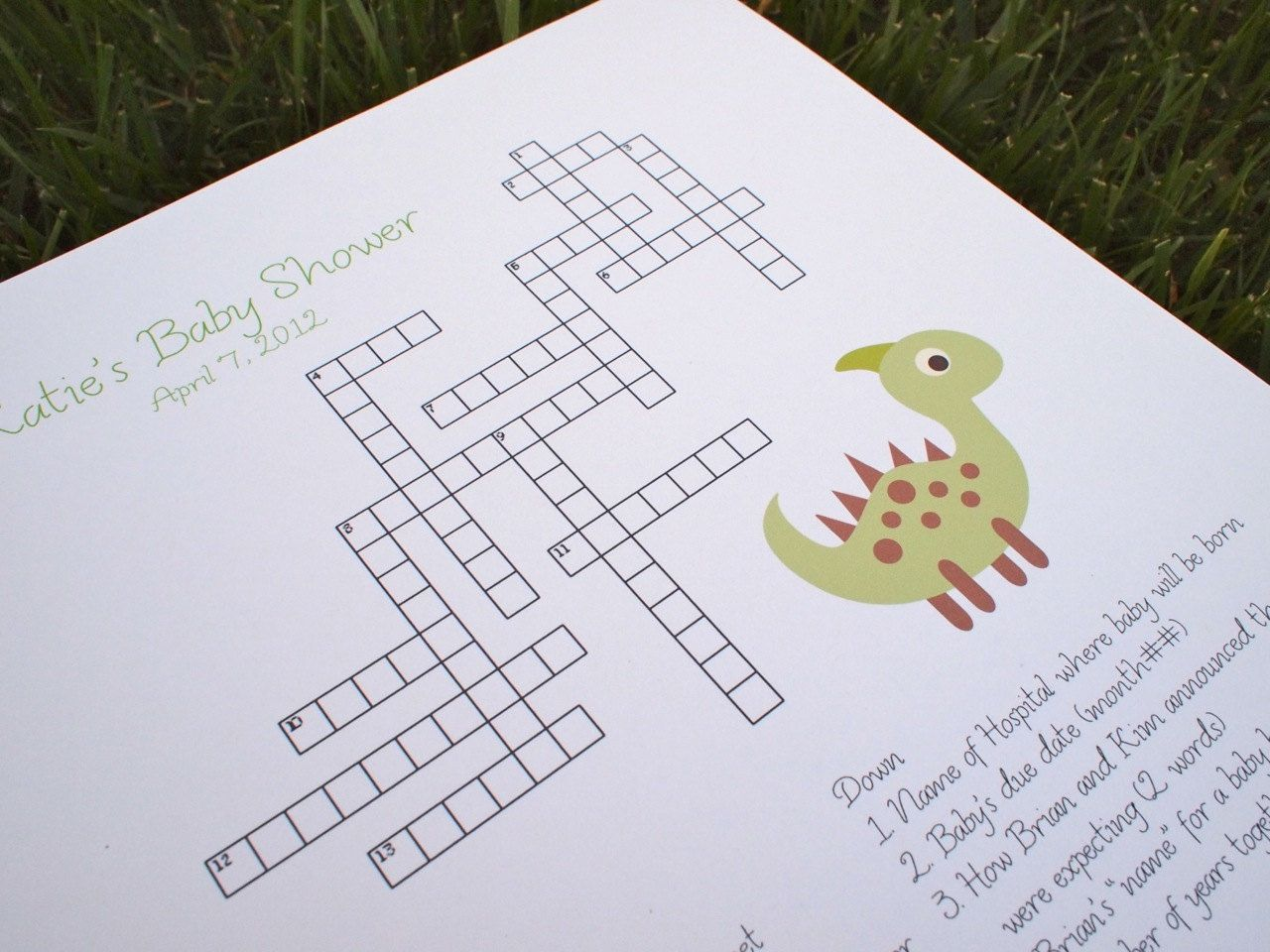 Custom Baby Shower Crossword Puzzle Dinosaur By KreativeCupcake. $20.00,  Via Etsy.