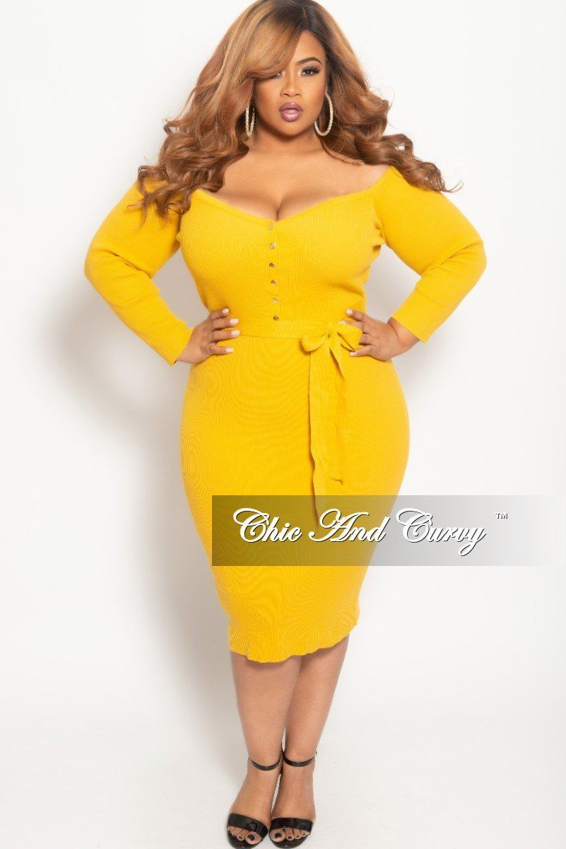8e75a6c1f1bd2 Plus Size Off the Shoulder Button Up BodyCon Dress in Mustard – Chic And  Curvy