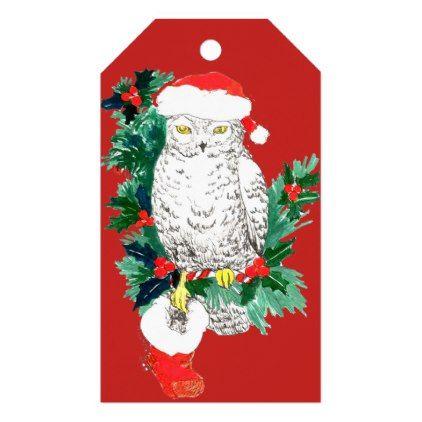 Whimsical Christmas Owl Stocking and Santa Hat Gift Tags Christmas