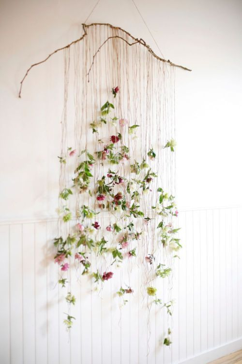 Make This Ethereal Floral Wall Hanging With Twine And Faux Flowers