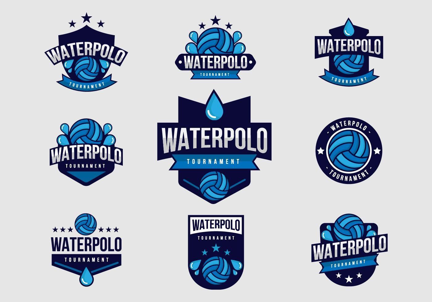 Free Water Polo Badges Vector โปโลน้ำ, ป้ายโฆษณา, พื้นหลัง