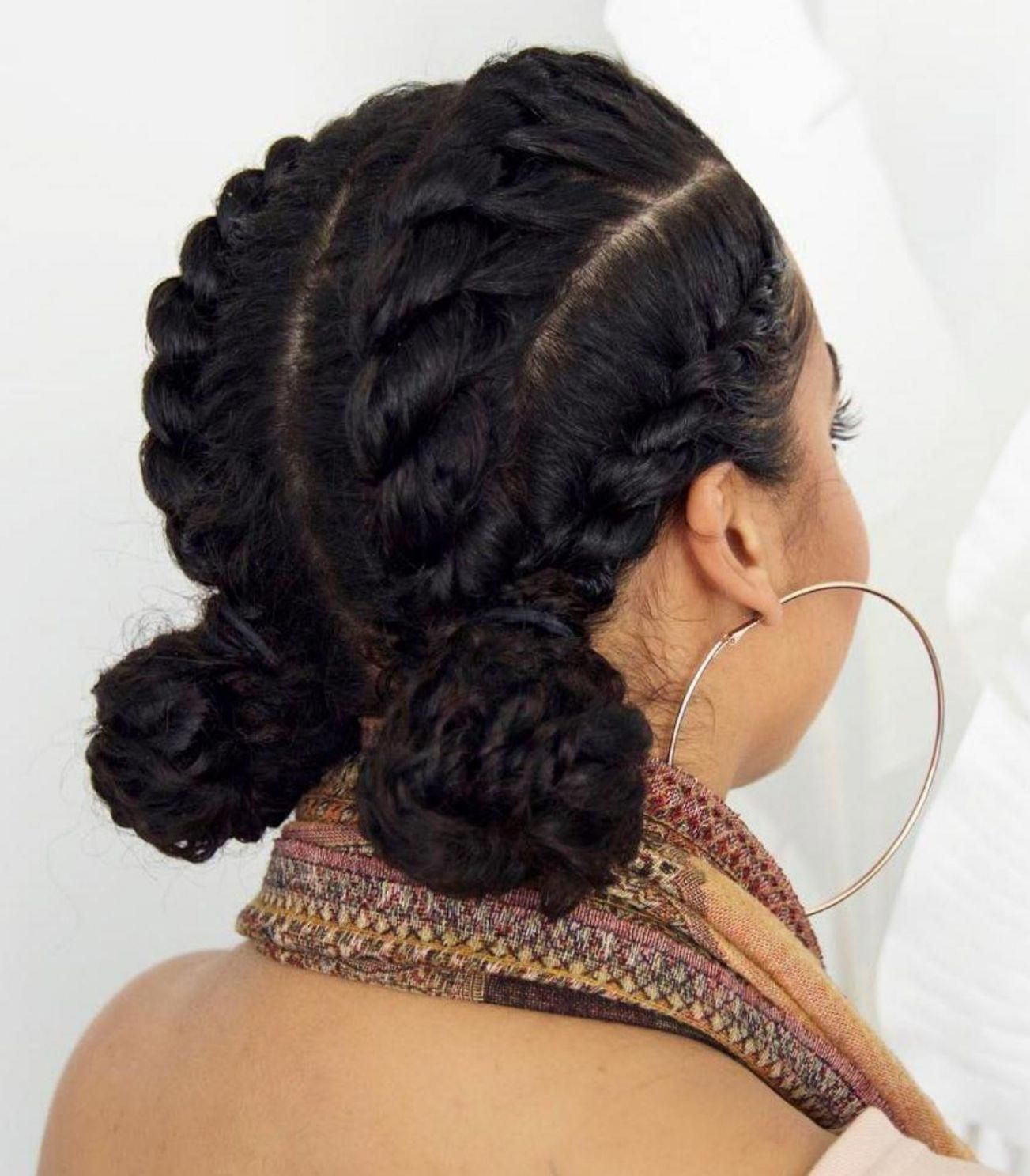 Two Low Buns Protective Updo Braidshairstyles Protective Hairstyles For Natural Hair Protective Hairstyles Natural Hair Transitioning
