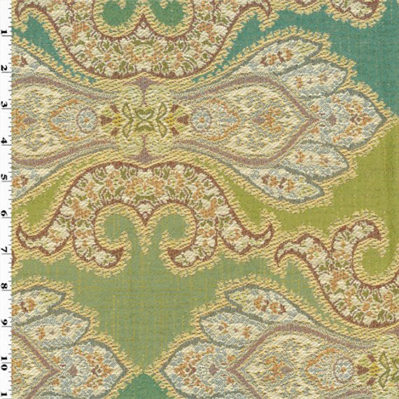 Teal/Green Designer Paisley Jacquard Home Decorating Fabric ...